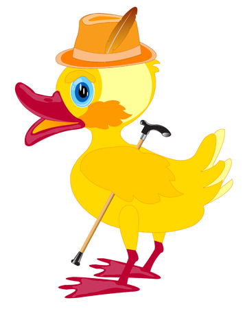 walking stick: Duckling in hat with walking stick on white background Illustration