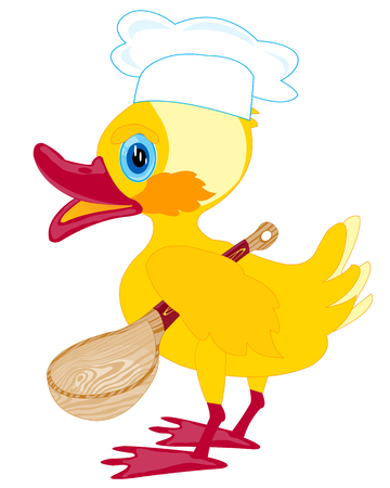 Cartoon duckling cook with spoon on white background