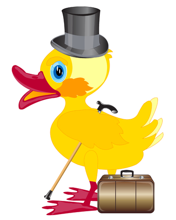 nestling birds: Duckling with cylinder on head and valise on white background Illustration