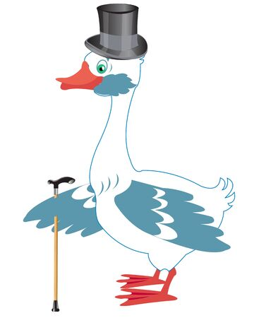 fop: Cartoon goose in hat with walking stick on white background