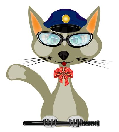 natty: Cartoon of the cat in form of the police bodies on white background