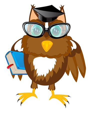 hubcap: Bird owl professor with book on white background Illustration