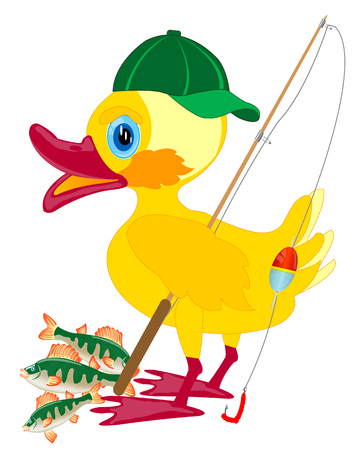 Duckling fisherman with fishing rod and catch on white background