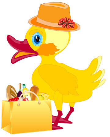 nestling birds: Duckling in fashionable hat with product in bag on white background