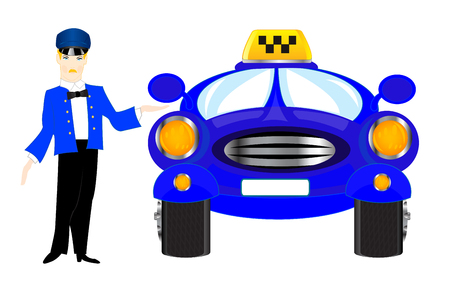 chauffeur: Chauffeur of the car taxi on white background is insulated Illustration