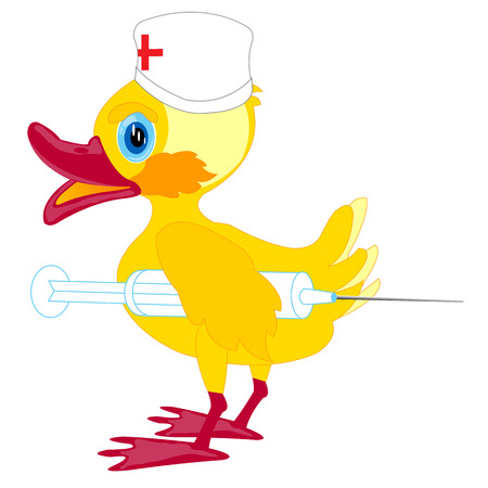 red cross red bird: Duckling physician with syringe on white background is insulated