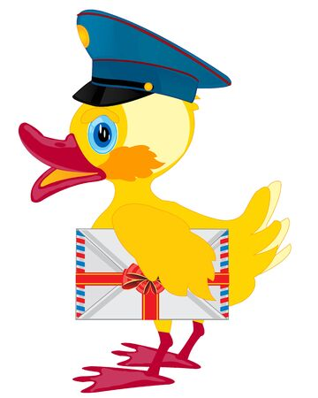 nestling: Duckling postman with envelope on white background is insulated