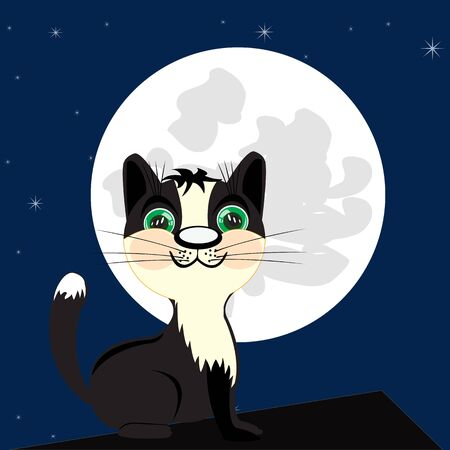 huntsman: Cat on roof of the building moon in the night Illustration