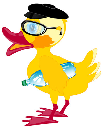 mineral water bottles: Duckling bespectacled and cap on white background is insulated Vectores