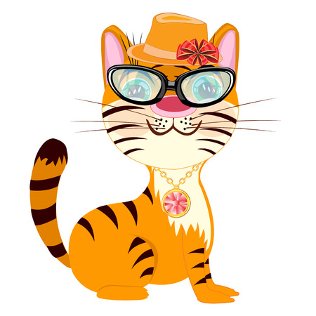 Vector illustration fashionable tigress on white background
