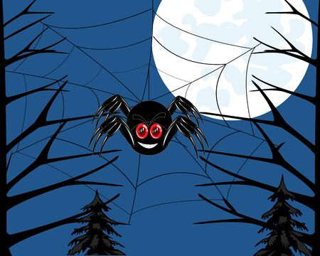 mirk: Insect spider in wood braids network .Vector illustration