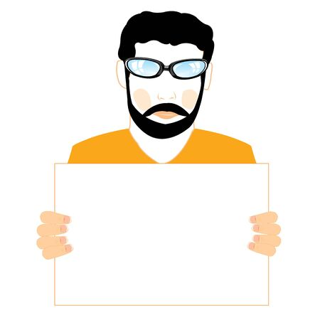 keeps: Man with beard and moustache keeps in hand clean sheet Illustration