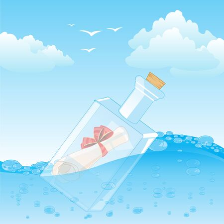 stopper: The Glass bottle with note sails on water.Vector illustration