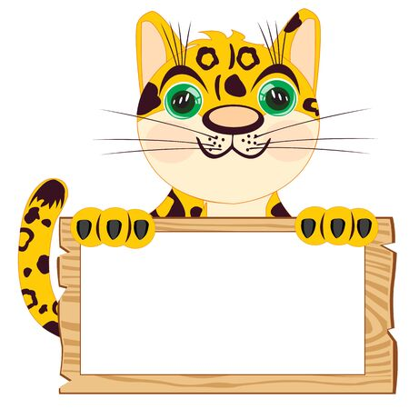 Leopard with poster on white background insulated