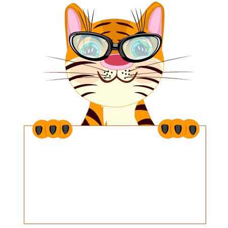 insulated: Tiger with poster on white background insulated