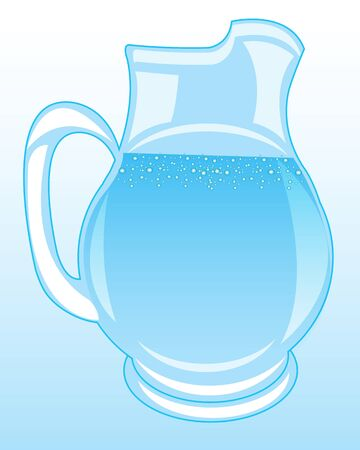 The Glass pitcher with clean drinking water.Vector illustration