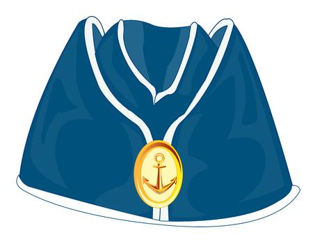 cockade: Headdress of the sailor oversea cap on white background Illustration