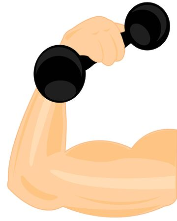 male body: Strong hand men with dumbbells on white background