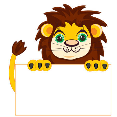 insulated: Lion with poster on white background insulated