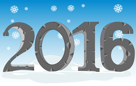 numerals: Decorative numerals 2016 on background of the snow Illustration