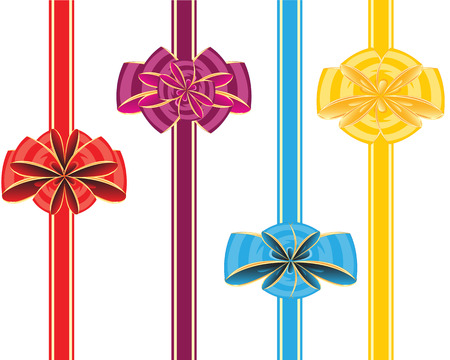 insulated: Colour bows with tape on white background is insulated Illustration