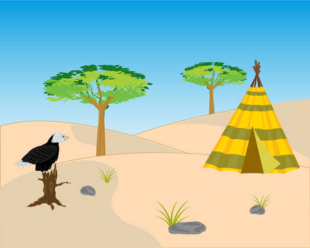sand dune: Vector illustration to deserts and hollered on tree
