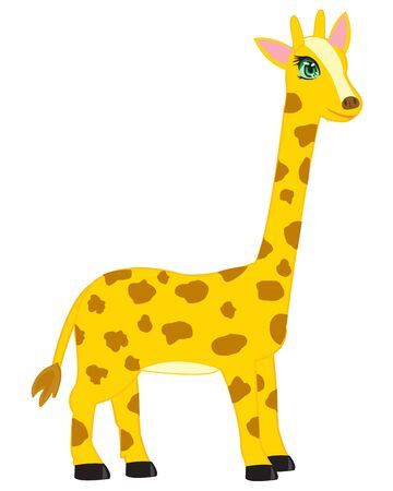 insulated: Cartoon of the giraffe on white background is insulated Illustration