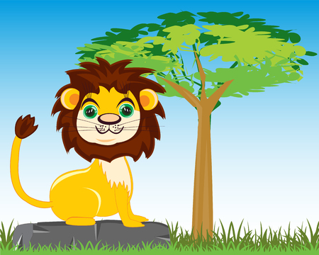 king s: Vector illustration animal lion on background tree in savannah