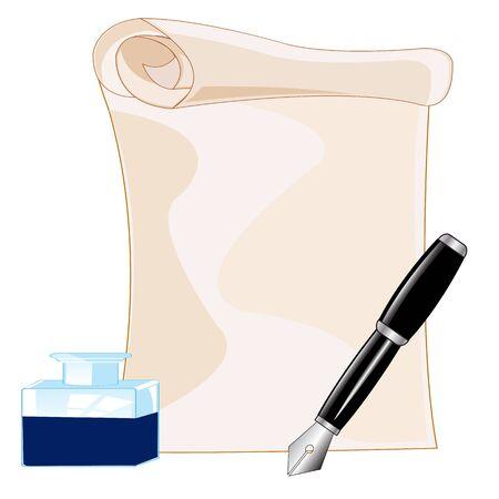 edicto: Papel y pluma con tinta sobre fondo blanco está aislado