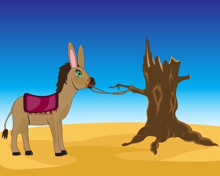 ungulate: Vector illustration of the burro in sand desert
