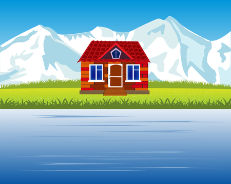 The Landscape with mountain and riverside lodge.Vector illustration