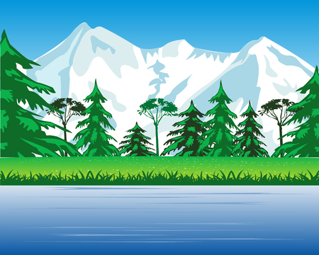 fur trees: The Landscape with mountain and riverside.Vector illustration