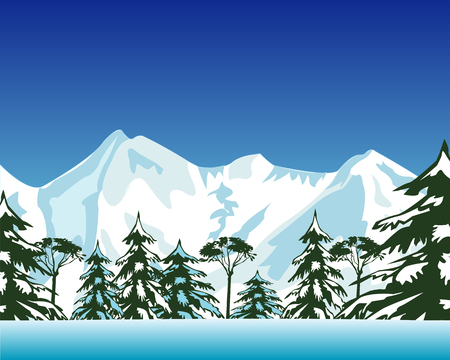 The Beautiful winter landscape of the mountain and wood.Vector illustration Illustration