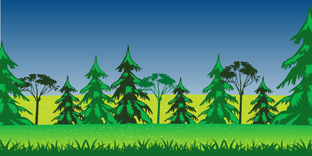 fur trees: Beautiful year landscape glade with flower and tree Illustration