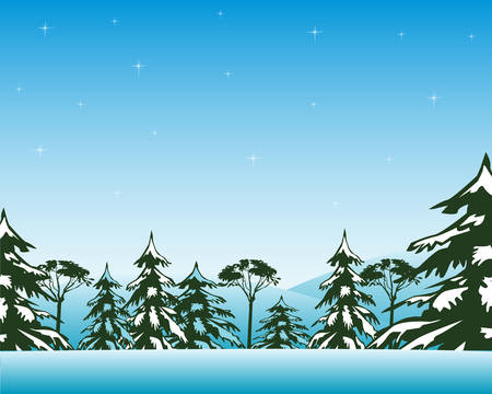 blanching: Beautiful winter landscape with wood and snowdrift