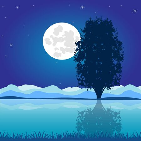 afterglow: The Night landscape moon sky and riverside.Vector illustration