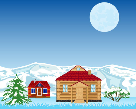 winter night: Vector illustration of a winter night village at the mountains