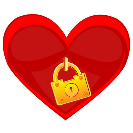 briliance: Red heart locked on lock on white background is insulated