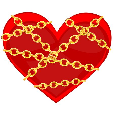 briliance: Red heart bound by golden chain on white background is insulated Illustration