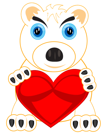 dangerous love: The Animal polar bear with red heart in paw.Vector illustration Illustration
