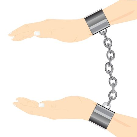 precautionary: Hands of the person in shackle on white background is insulated