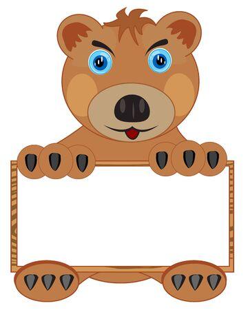 borax: Cartoon borax bear with poster on white background