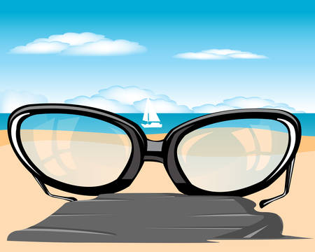 specification: The Spectacles on beach beside epidemic deathes.illustration Illustration