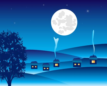 snowdrifts: winter landscape to villages moon in the night Illustration