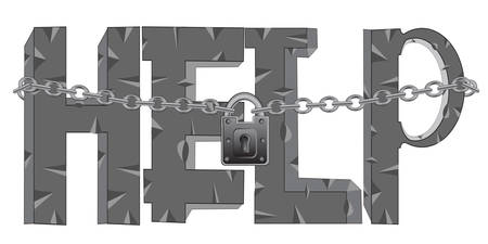 rifts: Decorative word help on locked on lock on white background is insulated