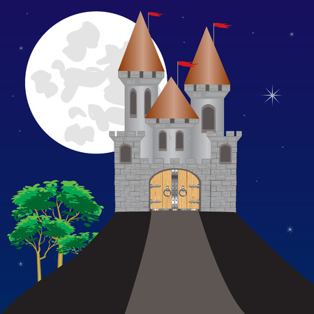 impregnable: Impregnable fortress on high hill moon in the night