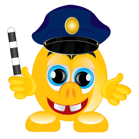 truncheon: Smile in service cap of the police bodies