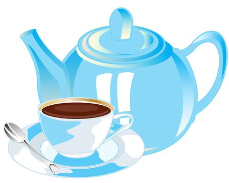 tearoom: Porcelain teapot and cup with tea on white background is insulated Illustration