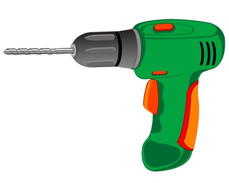 electric drill: Worker tools electric drill on white background is insulated