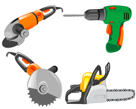 insulated: Much tools electric for working on white background is insulated Illustration